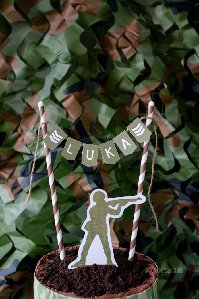 Cake topper + bunting from an Army Themed Birthday Party via Kara's Party Ideas | KarasPartyIdeas.com- The place for all things Party! (57)