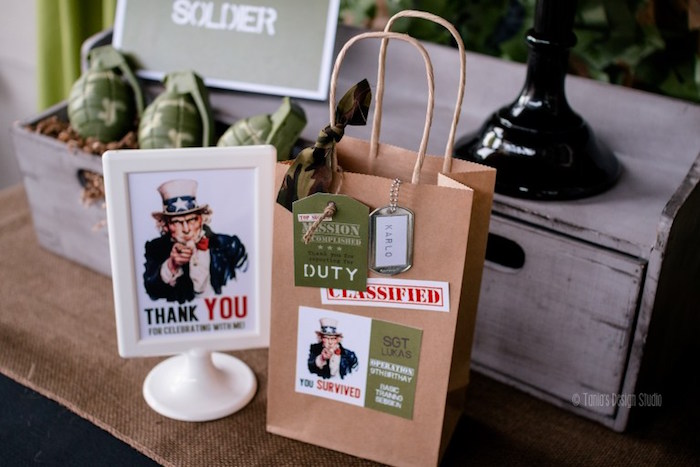 Favor bag from an Army Themed Birthday Party via Kara's Party Ideas | KarasPartyIdeas.com- The place for all things Party! (37)
