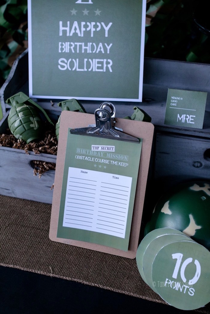 Signage from an Army Themed Birthday Party via Kara's Party Ideas | KarasPartyIdeas.com- The place for all things Party! (29)