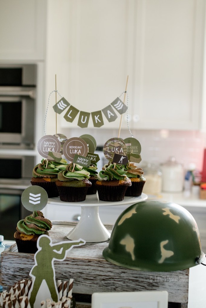 Camo cupcakes + decor from an Army Themed Birthday Party via Kara's Party Ideas | KarasPartyIdeas.com- The place for all things Party! (26)