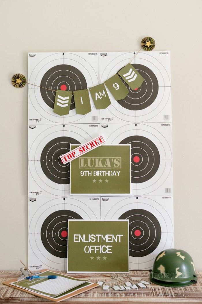 Signage + decor from an Army Themed Birthday Party via Kara's Party Ideas | KarasPartyIdeas.com- The place for all things Party! (20)