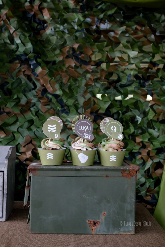 Cupcakes from an Army Themed Birthday Party via Kara's Party Ideas | KarasPartyIdeas.com- The place for all things Party! (55)