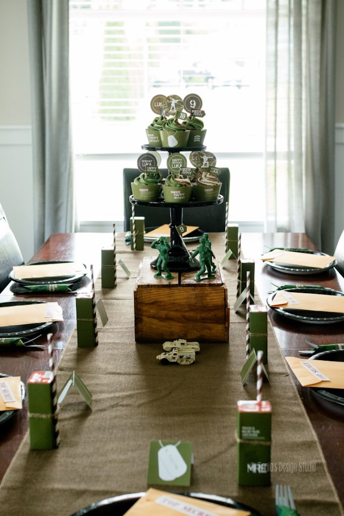 Mess Hall table details from an Army Themed Birthday Party via Kara's Party Ideas | KarasPartyIdeas.com- The place for all things Party! (17)
