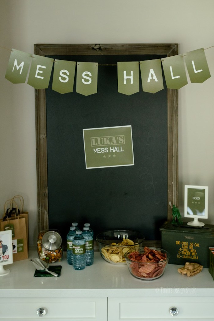 Mess Hall snack table from an Army Themed Birthday Party via Kara's Party Ideas | KarasPartyIdeas.com- The place for all things Party! (16)
