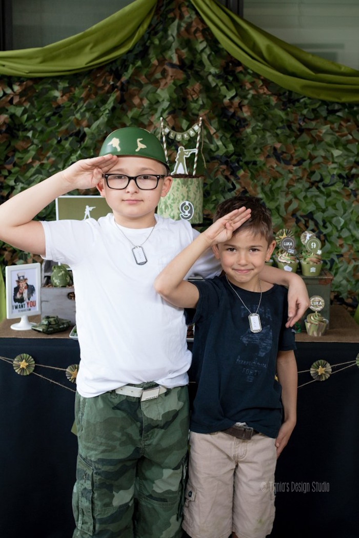 Men at attention from an Army Themed Birthday Party via Kara's Party Ideas | KarasPartyIdeas.com- The place for all things Party! (14)