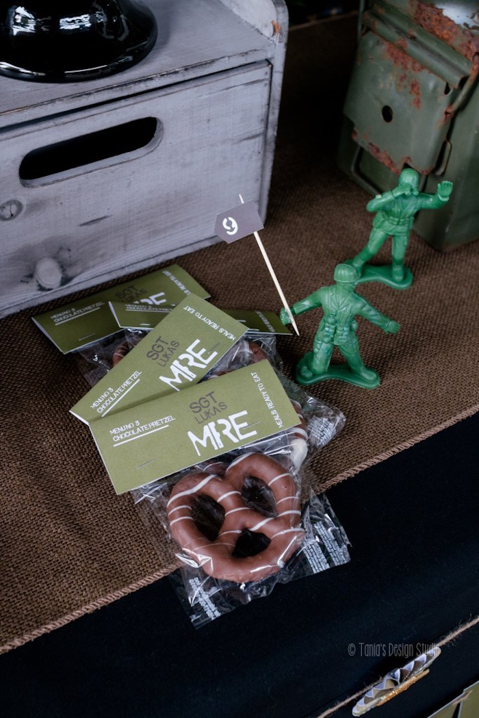 Chocolate pretzel favors from an Army Themed Birthday Party via Kara's Party Ideas | KarasPartyIdeas.com- The place for all things Party! (54)