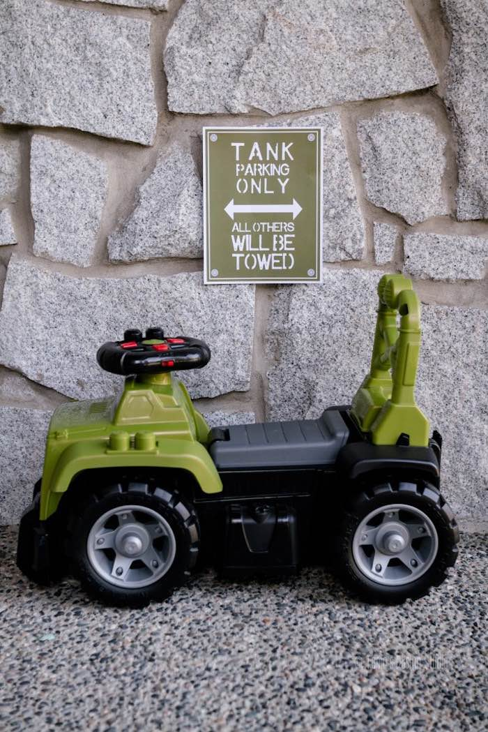 Tank Parking from an Army Themed Birthday Party via Kara's Party Ideas | KarasPartyIdeas.com- The place for all things Party! (8)