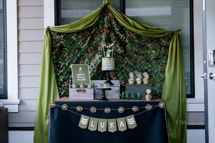 Dessert table from an Army Themed Birthday Party via Kara's Party Ideas | KarasPartyIdeas.com- The place for all things Party! (50)