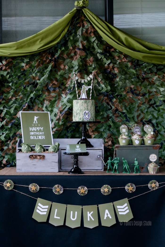 Dessert table from an Army Themed Birthday Party via Kara's Party Ideas | KarasPartyIdeas.com- The place for all things Party! (49)