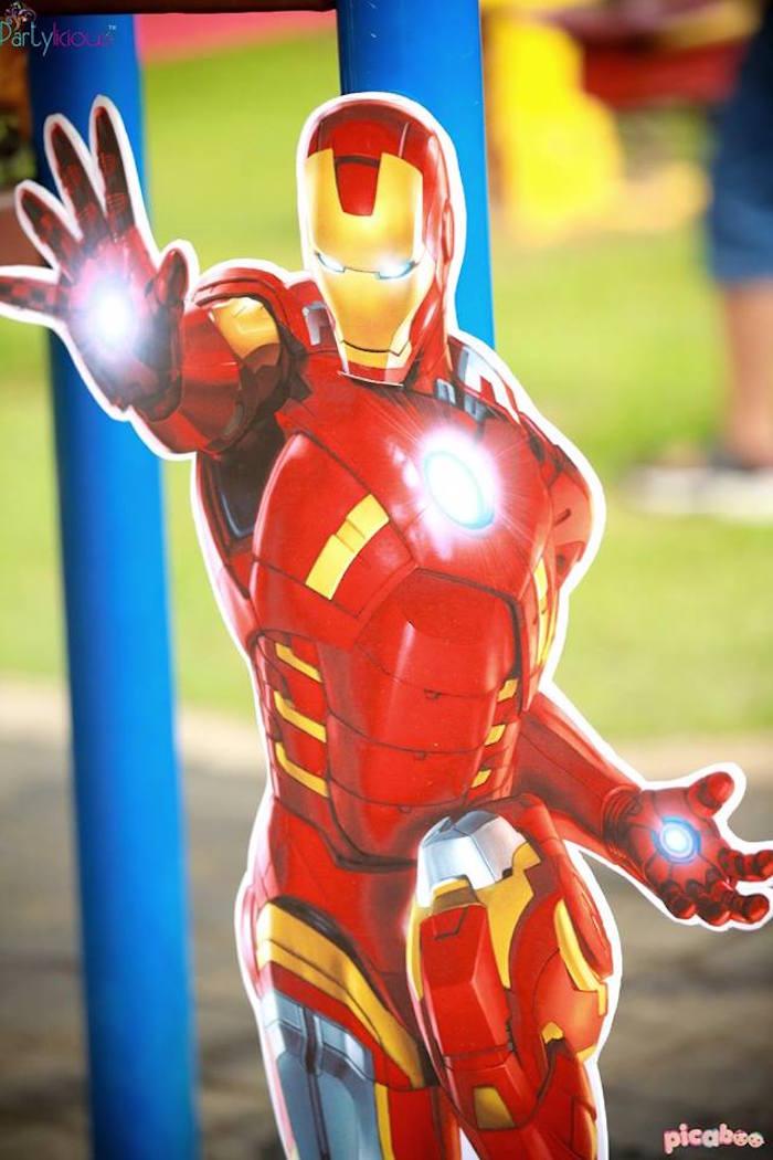 Iron Man standee from an Avengers Themed Birthday Party via Kara's Party Ideas | KarasPartyIdeas.com (36)