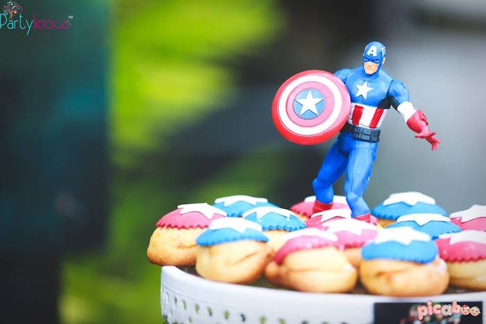 Captain American cream puffs from an Avengers Themed Birthday Party via Kara's Party Ideas | KarasPartyIdeas.com (35)