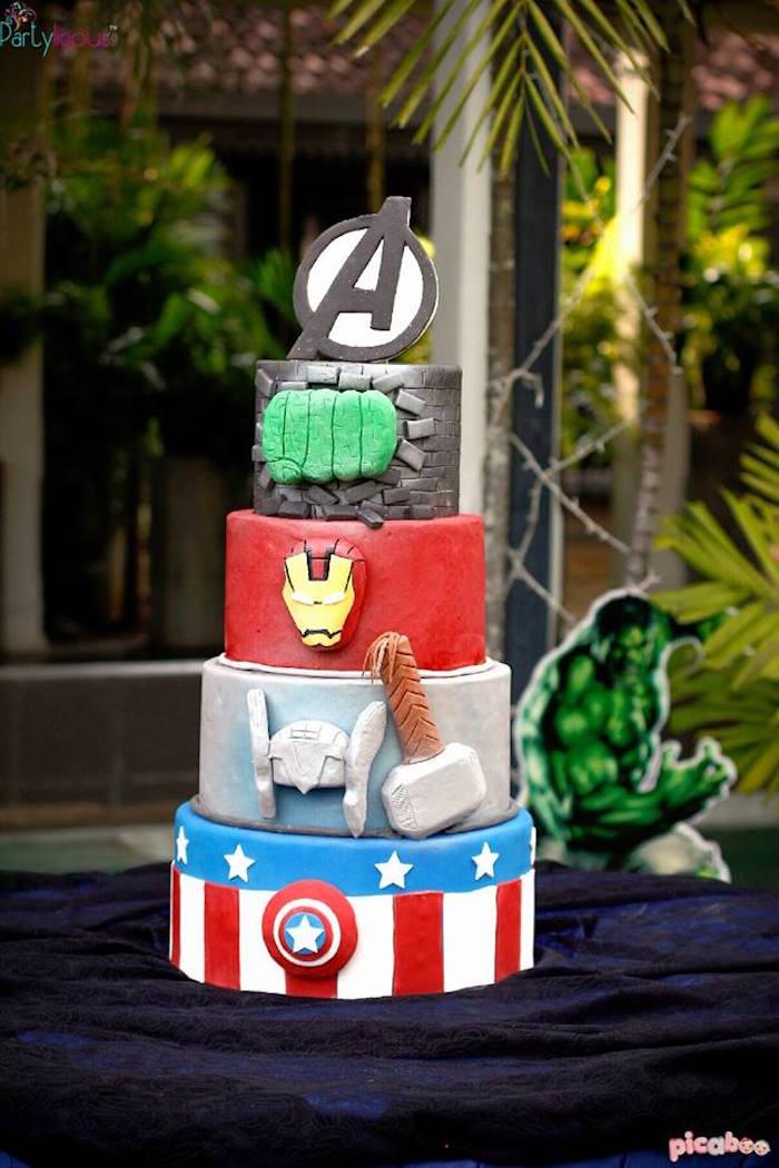 Cake from an Avengers Themed Birthday Party via Kara's Party Ideas | KarasPartyIdeas.com (33)
