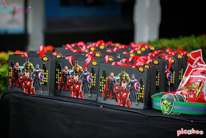 Favor bags from an Avengers Themed Birthday Party via Kara's Party Ideas | KarasPartyIdeas.com (31)
