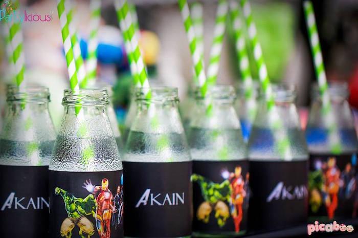 Drink bottles from an Avengers Themed Birthday Party via Kara's Party Ideas | KarasPartyIdeas.com (30)