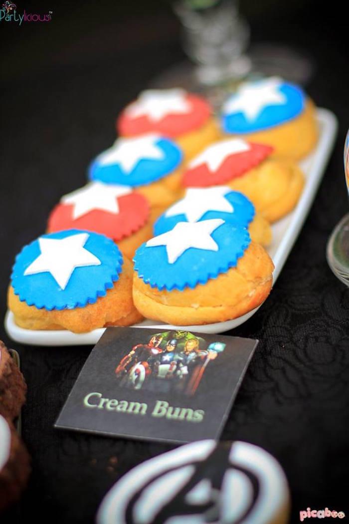 Cream buns/puffs from an Avengers Themed Birthday Party via Kara's Party Ideas | KarasPartyIdeas.com (29)