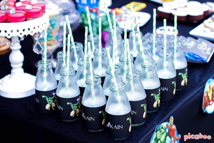 Drink bottles from an Avengers Themed Birthday Party via Kara's Party Ideas | KarasPartyIdeas.com (28)