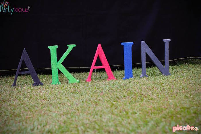 Name letter sign from an Avengers Themed Birthday Party via Kara's Party Ideas | KarasPartyIdeas.com (27)