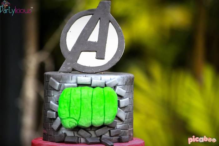Cake detail from an Avengers Themed Birthday Party via Kara's Party Ideas | KarasPartyIdeas.com (26)