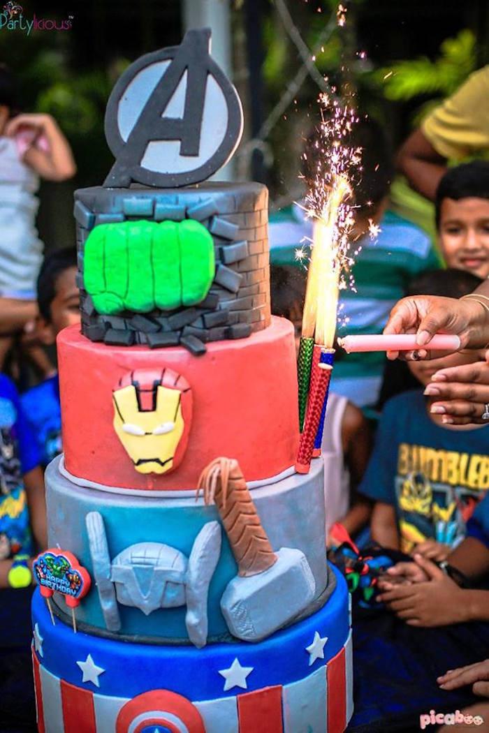 Lit cake from an Avengers Themed Birthday Party via Kara's Party Ideas | KarasPartyIdeas.com (24)