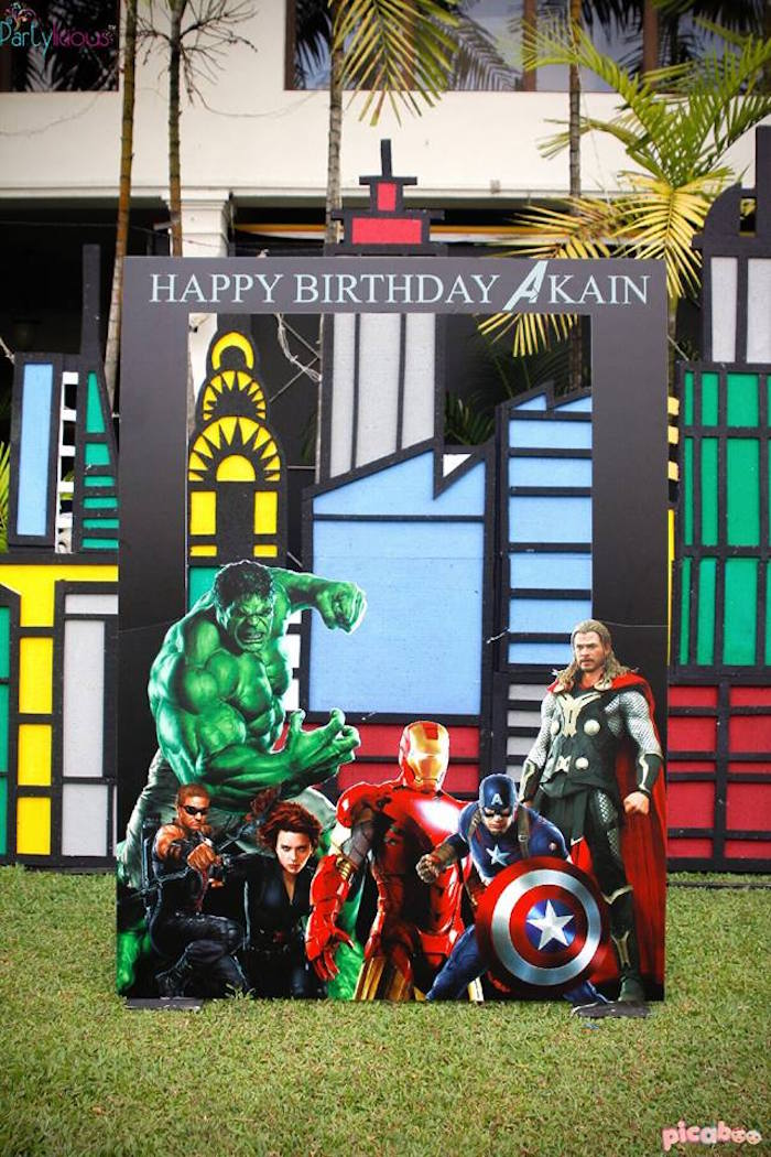 Photo booth from an Avengers Themed Birthday Party via Kara's Party Ideas | KarasPartyIdeas.com (18)