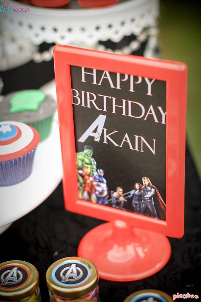 Framed party signage from an Avengers Themed Birthday Party via Kara's Party Ideas | KarasPartyIdeas.com (17)