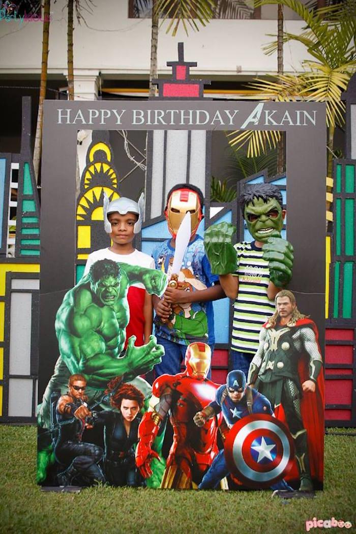 Photo booth fun from an Avengers Themed Birthday Party via Kara's Party Ideas | KarasPartyIdeas.com (16)