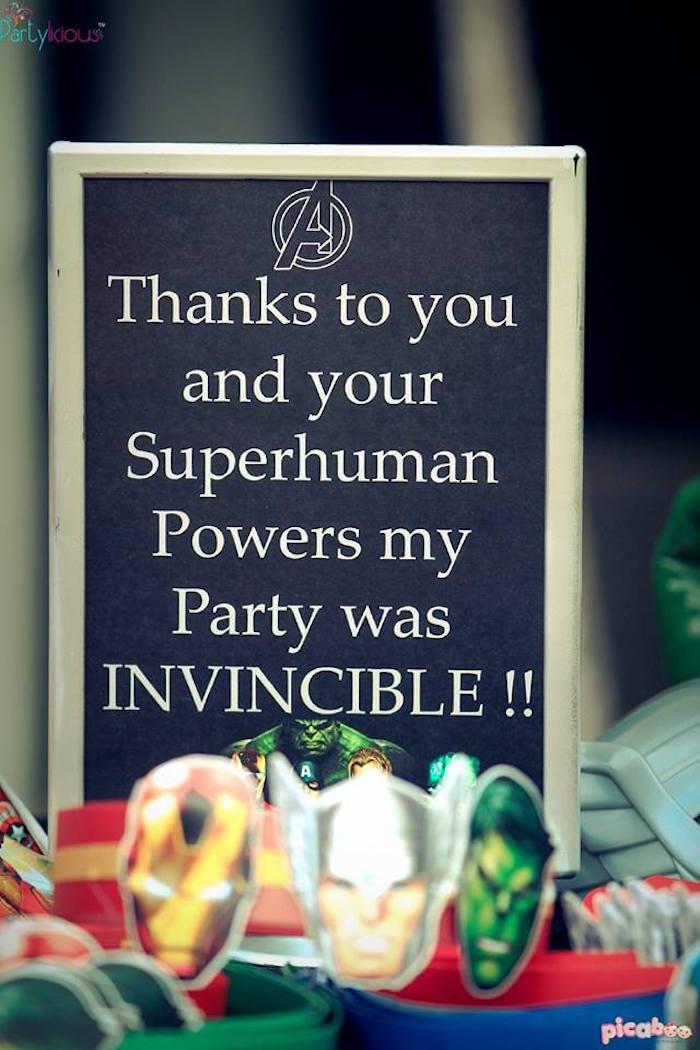 Signage from an Avengers Themed Birthday Party via Kara's Party Ideas | KarasPartyIdeas.com (13)