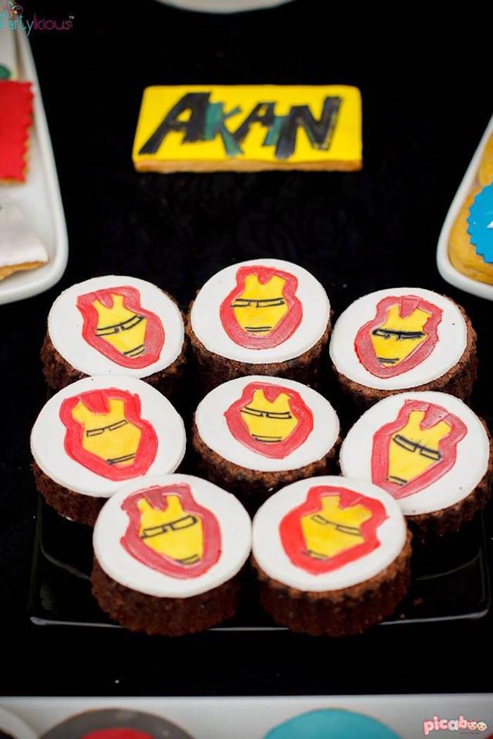 Brownies from an Avengers Themed Birthday Party via Kara's Party Ideas | KarasPartyIdeas.com (12)