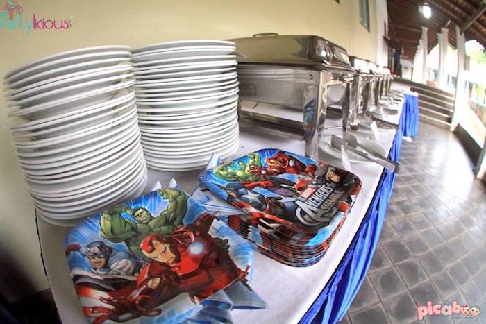 Buffet table from an Avengers Themed Birthday Party via Kara's Party Ideas | KarasPartyIdeas.com (11)