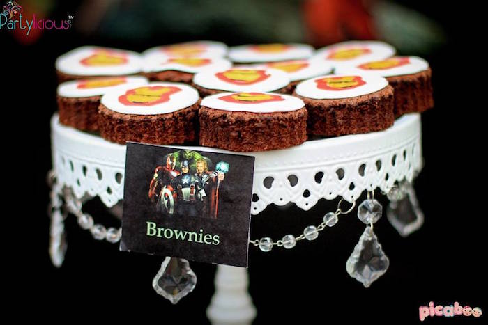 Brownies from an Avengers Themed Birthday Party via Kara's Party Ideas | KarasPartyIdeas.com (9)