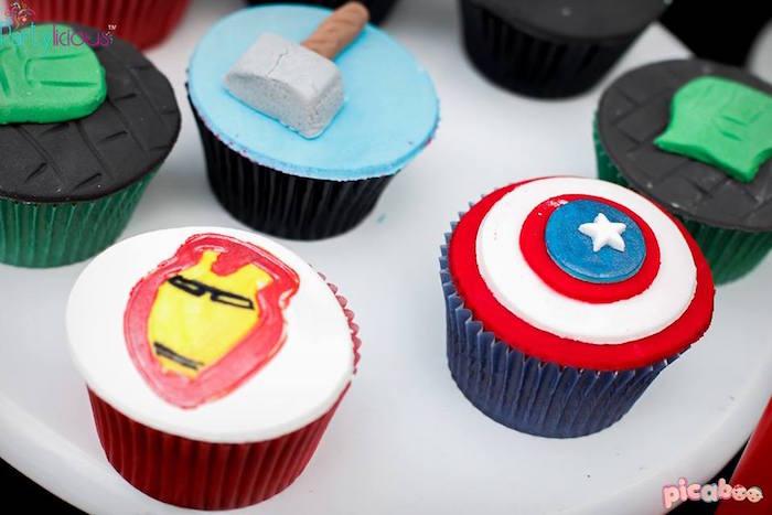 Superhero cupcakes from an Avengers Themed Birthday Party via Kara's Party Ideas | KarasPartyIdeas.com (8)