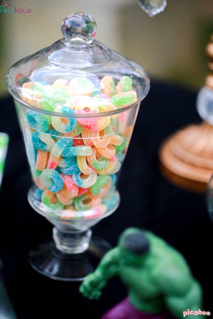 Gummy candy placed in an apothecary jar from an Avengers Themed Birthday Party via Kara's Party Ideas | KarasPartyIdeas.com (43)