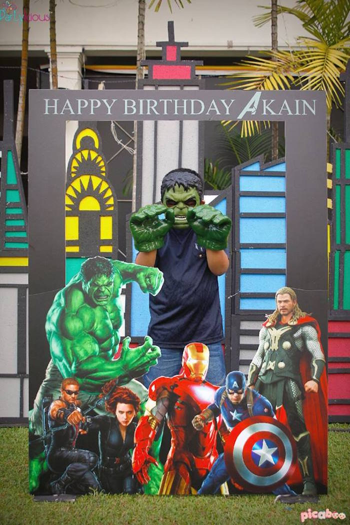 Photo booth fun from an Avengers Themed Birthday Party via Kara's Party Ideas | KarasPartyIdeas.com (5)