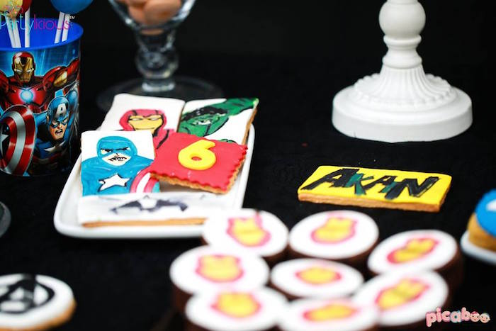Cookies from an Avengers Themed Birthday Party via Kara's Party Ideas | KarasPartyIdeas.com (3)