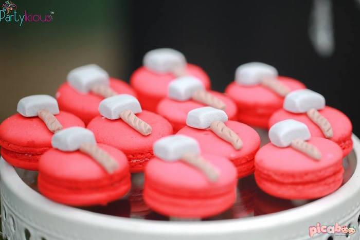 Thor-inspired macarons from an Avengers Themed Birthday Party via Kara's Party Ideas | KarasPartyIdeas.com (40)