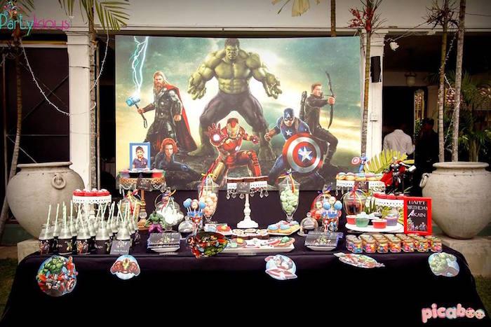 Dessert table from an Avengers Themed Birthday Party via Kara's Party Ideas | KarasPartyIdeas.com (37)