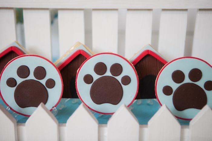 Paw print cookies from a Beanie Boos Pet Adoption Themed Birthday Party via Kara's Party Ideas | KarasPartyIdeas.com (39)