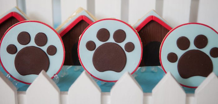 Paw print cookies from a Beanie Boos Pet Adoption Themed Birthday Party via Kara's Party Ideas | KarasPartyIdeas.com (1)