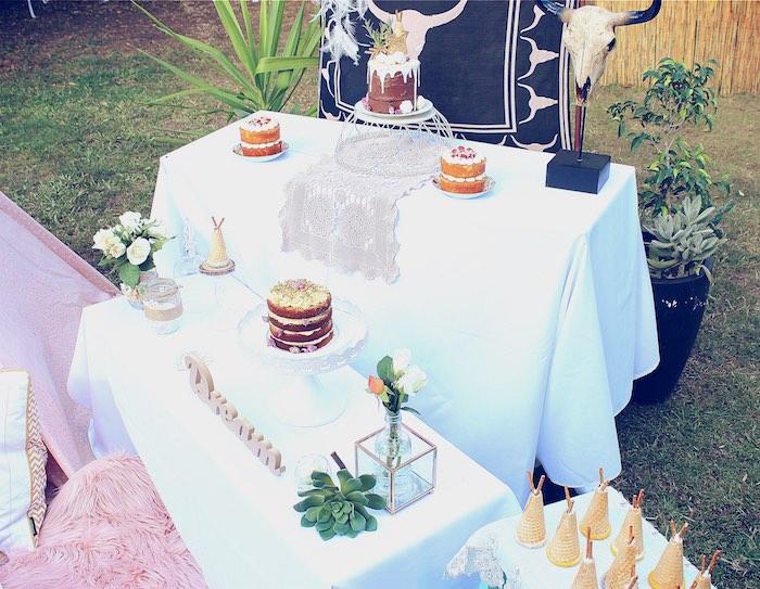 Party tables from a Bohemian Tween Birthday Party via Kara's Party Ideas | KarasPartyIdeas.com (8)