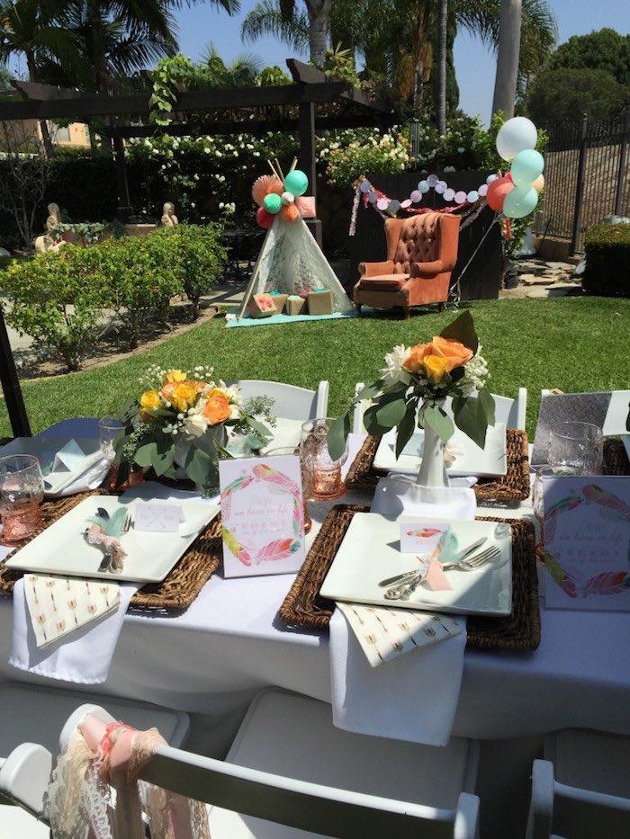 Guest table details from a Boho Dreams Baby Shower Brunch via Kara's Party Ideas - KarasPartyIdeas.com (4)