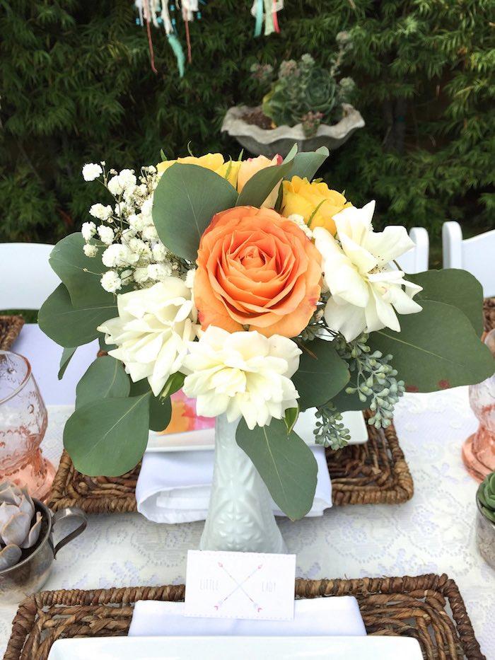 Floral arrangement from a Boho Dreams Baby Shower Brunch via Kara's Party Ideas | KarasPartyIdeas.com