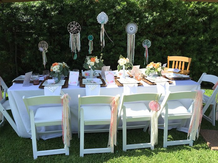 Guest table from a Boho Dreams Baby Shower Brunch via Kara's Party Ideas | KarasPartyIdeas.com