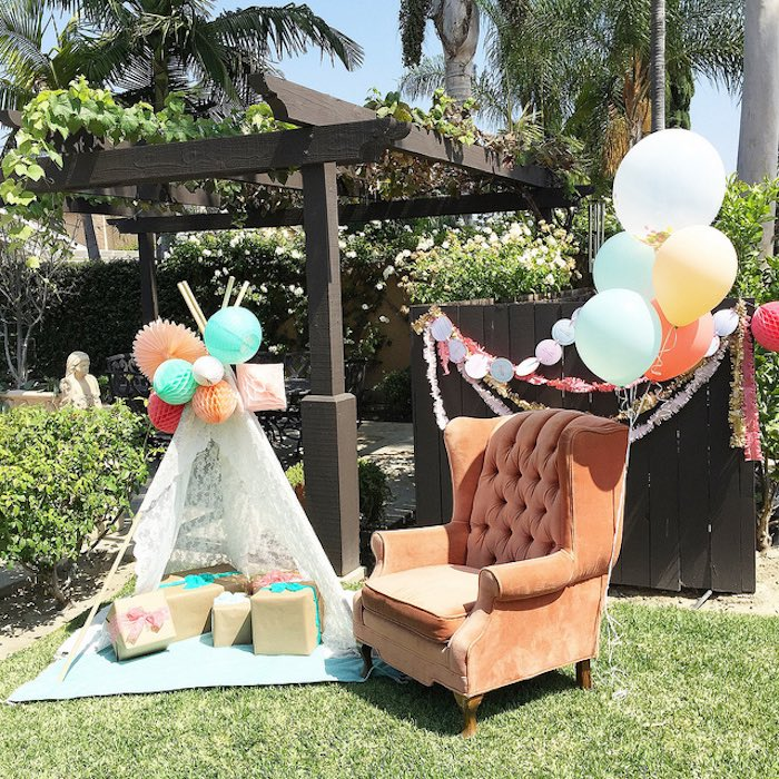 Gift area from a Boho Dreams Baby Shower Brunch via Kara's Party Ideas | KarasPartyIdeas.com