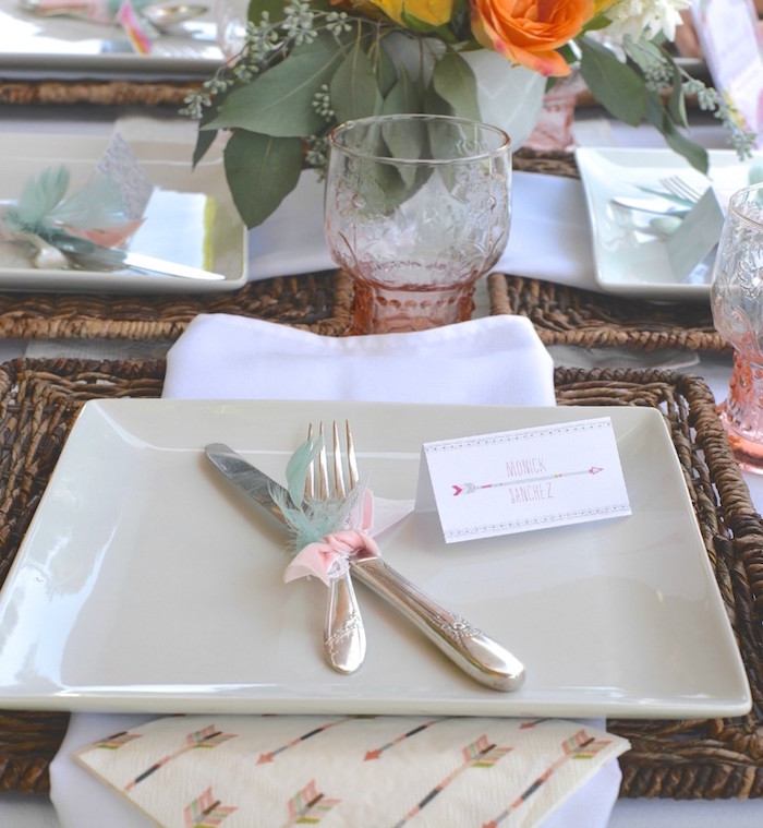 Place Setting From A Boho Dreams Baby Shower Brunch Via Karau0027s Party Ideas    KarasPartyIdeas.