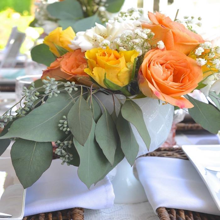 Floral arrangement from a Boho Dreams Baby Shower Brunch via Kara's Party Ideas - KarasPartyIdeas.com (14)