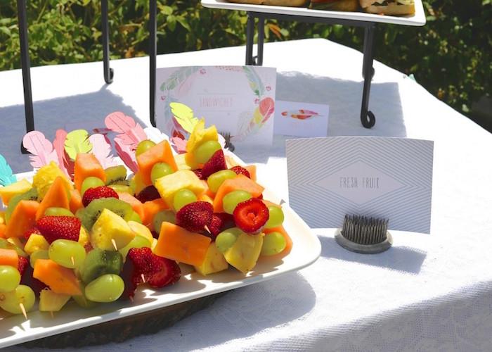 fresh fruit skewers from a boho dreams baby shower brunch via karau0027s party ideas