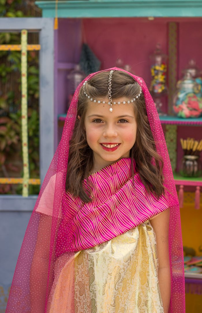 Birthday girl from a Bollywood Inspired Birthday Party via Kara's Party Ideas | KarasPartyIdeas.com (9)