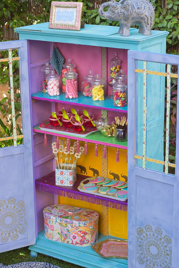 Closet candy buffet from a Bollywood Inspired Birthday Party via Kara's Party Ideas | KarasPartyIdeas.com (3)