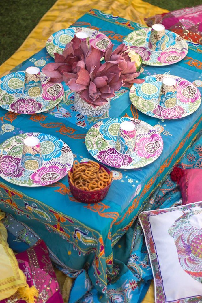Dining tablescape from a Bollywood Inspired Birthday Party via Kara's Party Ideas | KarasPartyIdeas.com (20)
