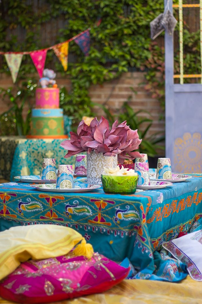 Guest table from a Bollywood Inspired Birthday Party via Kara's Party Ideas | KarasPartyIdeas.com (19)